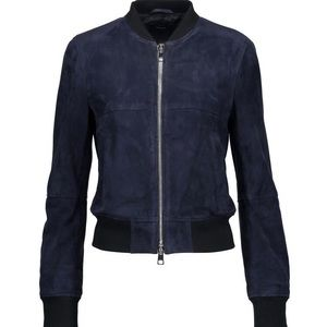 Navy Theory Daryette Suede Bomber Jacket